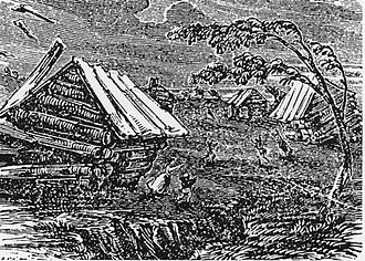 Osceola, Arkansas - The Great Earthquake at New Madrid, a 19th-century woodcut from Devens' Our First Century (1877)