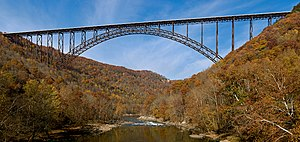 The New River Gorge Bridge near Fayetteville, ...