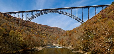 The New River Gorge Bridge in Fayetteville, West Virginia is a steel arch bridge that carries US 19 over the New River.