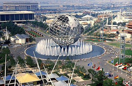 Grounds of the 1964 New York World's Fair in Flushing, Queens. Shea Stadium can be seen in the background on the upper left. New York World's Fair August 1964.jpeg