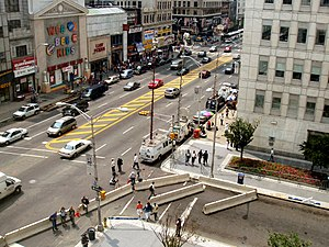 News media - Electronic News Gathering trucks and photojournalists gathered outside the Prudential Financial headquarters in Newark, United States in August 2004 following the announcement of evidence of a terrorist threat to it and to buildings in New York City.