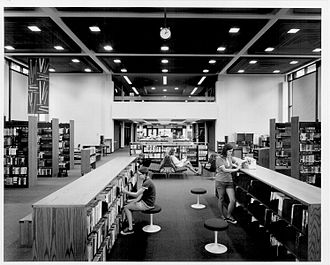 North Regional Library - Interior of library shortly after opening.