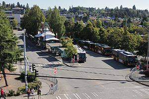 Northgate Transit Center - Aerial view of the bus bays, looking southwest towards the future light rail guideway