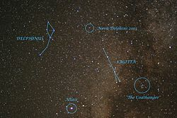 Nova Delphini 2013 in night sky- It is marked in the image 2013-08-18 14-49.jpg