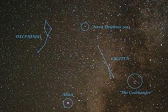 V339 Delphini - Image: Nova Delphini 2013 in night sky It is marked in the image 2013 08 18 14 49