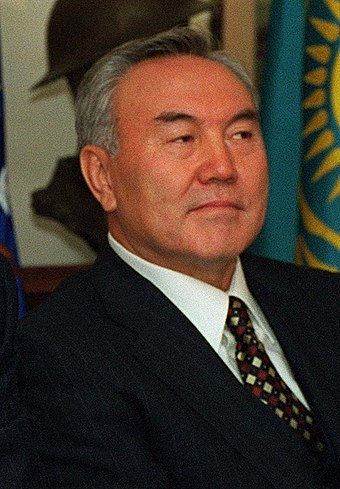 Nursultan Nazarbayev became leader of the Kazakh SSR in 1989 and later led Kazakhstan to independence. Nursultan Nazarbayev 1997.jpg
