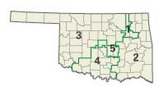 Politics of Oklahoma - Map of Oklahoma showing all five congressional districts