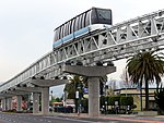 Oakland Airport Connector cable car over Hegenberger Drive, March 2018.JPG