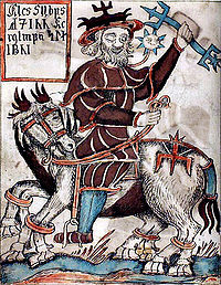 Icelandic manuscript depicting Odin who slayed the frost giant, Ymir.
