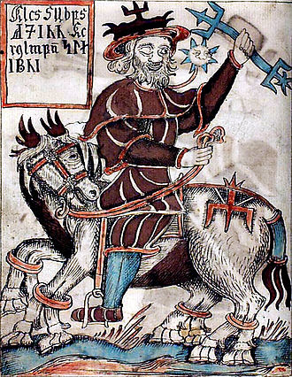 Sleipnir - An illustration of Odin riding Sleipnir from an 18th-century Icelandic manuscript.