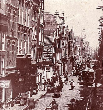 Street in Amsterdam in 1891 (Vijzelstraat [nl] looking towards Muntplein). Old-Amsterdam 1891-street-1.jpg