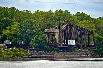 """Omaha Road Bridge Number 15 - The south end of the bridge, showing the concrete """"bobtail""""."""
