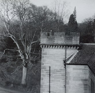 Oxenfoord Castle - One of the turrets which are part of Oxenfoord Castle
