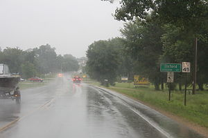 Oxford, Wisconsin - Image: Oxford Wisconsin Sign in heavy rain WIS82
