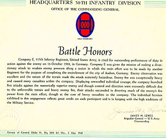 278th Armored Cavalry Regiment - Presidential Unit Citation awarded to E Company, 117th Infantry for its actions at Aachen on 16 October 1944