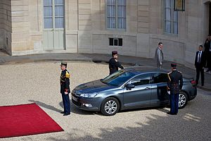 French presidential inauguration - François Hollande in a Citroën DS5 Hybrid4 at his inauguration, 15 May 2012