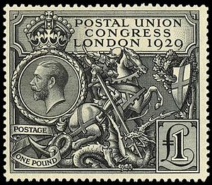 Postal Union Congress - The British £1 stamp for the 1929 Postal Union Conference, designed by Harold Nelson.