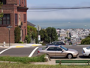 Pacific Heights, San Francisco - Northern view from Alta Plaza Park. The Marina District and San Francisco Bay can be seen below.