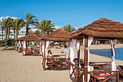 Paphos luxurious seaside hotels by evening Republic of Cyprus