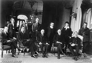 The Australian delegation to the Paris Peace Conference, 1919. Garran is in the front row, seated, second from left. Also pictured are Billy Hughes, front centre, and Sir Joseph Cook, seated, second from right.