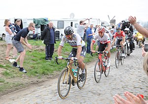 Peter Sagan Silvan Dillier And Jelle Wallays At The Templeuve En Pevele Pave