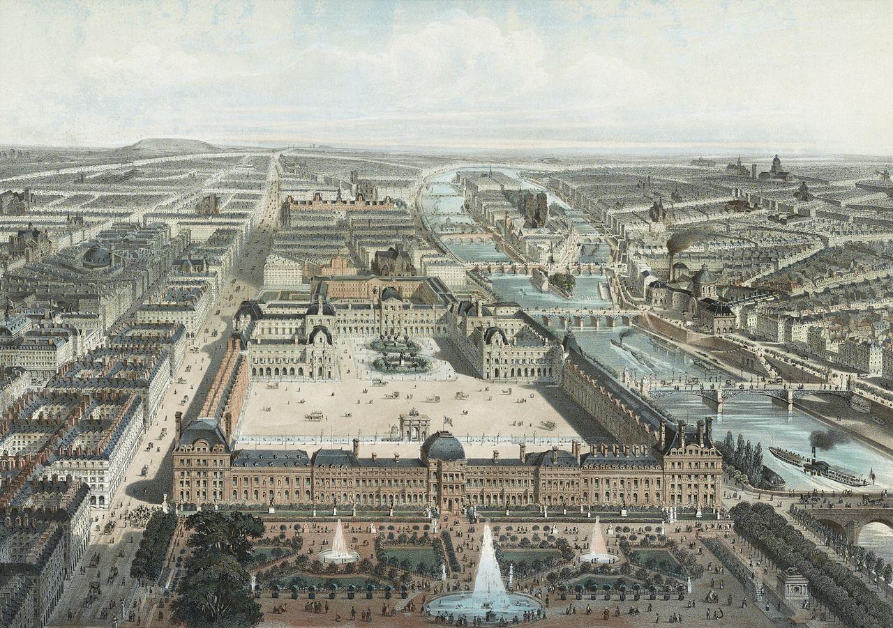 Fichier paris moderne les tuileries le louvre et la rue de rivoli vue prise du jardin des - Vue de jardin ...