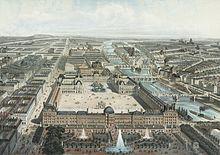 vue du palais des tuileries sous le second empire encore fastueusement mis en scne par ses jardins - Jardins Des Tuileries