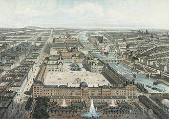 Bird's-eye view - Image: Paris moderne. Les Tuileries, le Louvre, et la rue de Rivoli, vue prise du Jardin des Tuileries