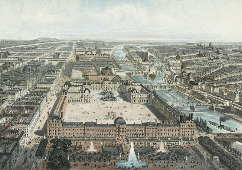 File:Paris moderne. Les Tuileries, le Louvre, et la rue de Rivoli, vue prise du Jardin des Tuileries.jpg