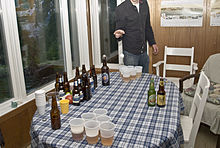 beer pong stag drinking game lined up