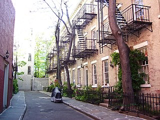 Patchin Place is a gated cul-de-sac located off of 10th Street between Greenwich Avenue and the Sixth Avenue in the Greenwich Village neighborhood of Manhattan, New York City.