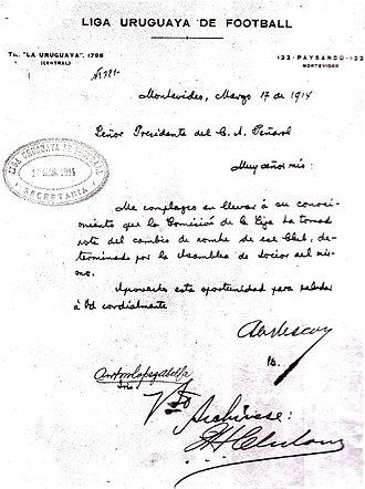 Peñarol - 1914 letter from the Uruguayan League, approving the club's name change