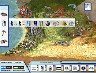 PeaceMaker - The game interface includes a map of the region, reminiscent of the turn-based strategy conventions.