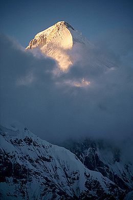 Peak of Khan Tengri at sunset.jpg