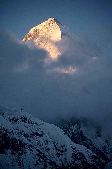 Peak of Khan Tengri at sunset