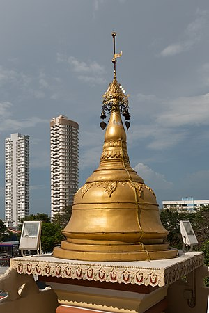 Dhammikarama Burmese Temple - One of the stupas of the Golden Pagoda Bell Tower, topped by the hti.