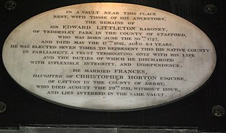 Edward Littleton, 1st Baron Hatherton - Memorial to Sir Edward Littleton, the 4th and last baronet, who died without issue in 1812, leaving the estates to his great-nephew. St. Michael and All Angels, Penkridge.