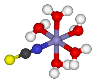 Thiocyanate - Image: Pentaaquathiocyanato iron(II) 3D balls