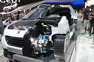Groupe PSA - Peugeot 2008 HYbrid air cutaway exhibited at the Salão Internacional do Automóvel 2014 São Paulo, Brazil