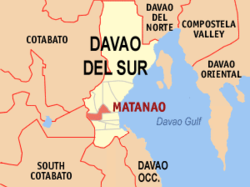 Map of Davao del Sur showing the location of Matanao
