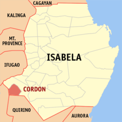 Map of Isabela showing the location of Cordon