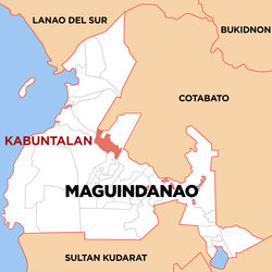 Map of Maguindanao showing the location of Kabuntalan