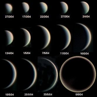 Planetary phase - Phases of Venus and evolution of its apparent diameter