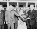 Photograph of President Truman receiving a Thanksgiving turkey from members of the Poultry and Egg National Board and... - NARA - 200138.tif