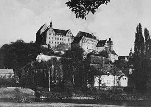 Colditz Castle circa World War II taken by a GI.