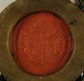 Pieczęc przy dokumencie, w którym Zygmunt III Waza król polski, nadaje miastu Poznaniowi prawo bicia monety zdawkowej.png