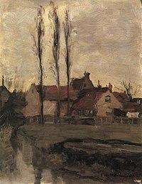 Piet Mondriaan - Three Italian poplars and buildings - A156 - Piet Mondrian, catalogue raisonné.jpg