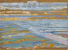 Piet Mondrian painting View from the Dunes with Beach and Piers, Domburg, in the Museum of Modern Art