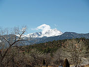 Pikes Peak seen from the Cathedral Valley of Garden of the Gods.