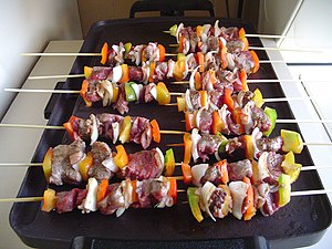 Brochette - Brochettes made on wooden sticks - a pincho americano from Venezuela